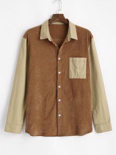 Color Blocking Panel Pocket Patch Corduroy Shirt - Deep Yellow 2xl