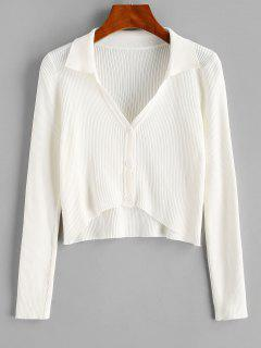 Ribbed V Notch High Low Crop Cardigan - Milk White S