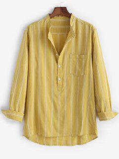 High Low Striped Half Button Pocket Patch Shirt - Yellow 2xl
