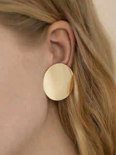 Round Disc Stud Earrings - Golden