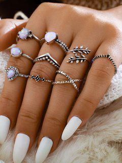 Faux Gem Heart Leaves Shape Rings Set - Silver