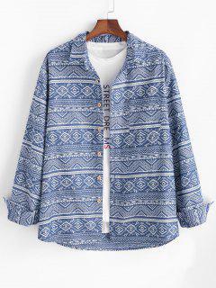 Tribal Geometric Pattern Pocket Patch Long Sleeve Shirt - Blue M