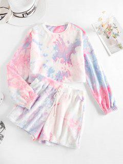ZAFUL Fluffy Tie Dye Two Piece Shorts Set - Multi-a M