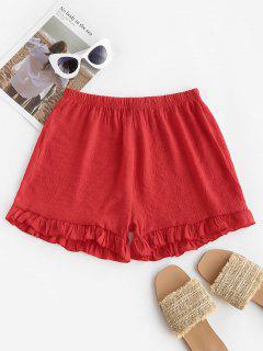 Semi-sheer Ruffled Beach Shorts - Red