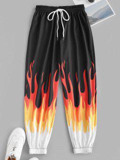 Drawstring Flame Print Jogger Pants - Black M