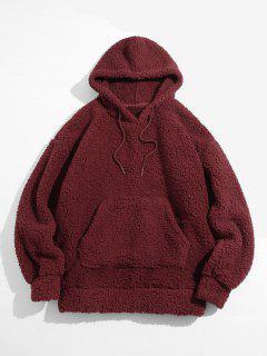 Fluffy Solid Kangaroo Pocket Hoodie - Deep Red Xl