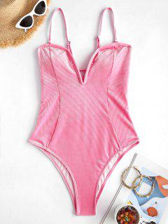 ZAFUL Ribbed Velvet V Wired One-piece Swimsuit - Hot Pink M