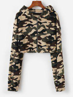 Hooded Camo Fleece Crop Jacket - Deep Green M
