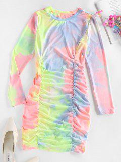 ZAFUL Tie Dye Ruched Bodycon Mini Dress - Multi S