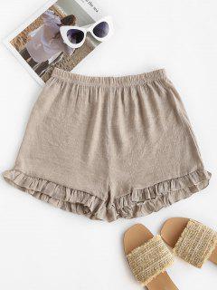 Shorts De Playa Semi-dye Con Volantes Con Cordones - Café Luz