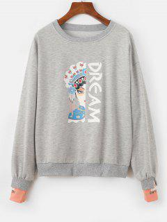 Chinoiserie Peking Opera Graphic Marled Sweatshirt - Gray