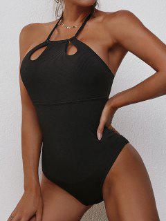 ZAFUL Solid Ribbed Cut Out One-piece Swimwear - Black Xl