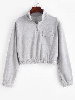 Half Zip High Neck Flap Pocket Cargo Sweatshirt - Gray Goose M