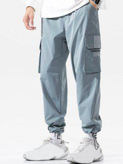 Letter Print Striped Embroidery Cargo Pants - Light Blue 3xl