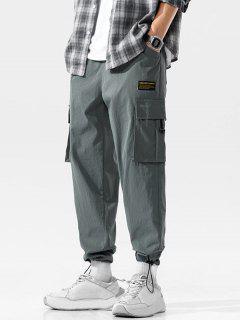 Pantalon Cargo Décontracté Long Applique Avec Multi-Poches - Gris Foncé 3xl