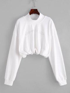 Sweat-shirt Court Brodé à Col Haut - Blanc Lait L