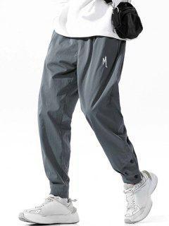 Letter Embroidery Button Hem Long Pants - Dark Gray 2xl