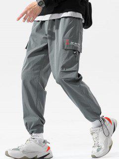 Letter Pattern Toggle Cuff Cargo Pants - Dark Gray 2xl