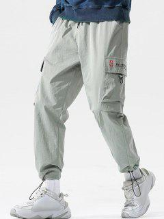 Letter Pattern Toggle Cuff Cargo Pants - Light Gray Xl