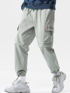 Pantalon Cargo Bouclé Motif De Lettre - Gris Clair 4xl