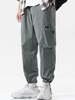 Button Pocket Toggle Cuff Cargo Pants - Dark Gray Xl