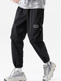 Pantalones De Carga Con Cinto Y Bolsillos - Negro 2xl