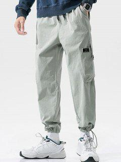 Button Pocket Toggle Cuff Cargo Pants - Light Gray Xl