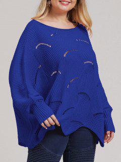 Tamaño Más Abierto De Punto Suéter Asimétrico - Azul 2xl