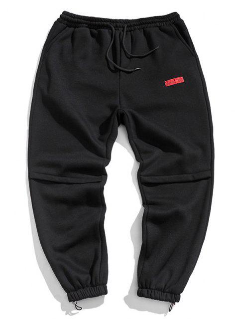 Jogger Pantalones con Diseño de Letras - Negro L Mobile