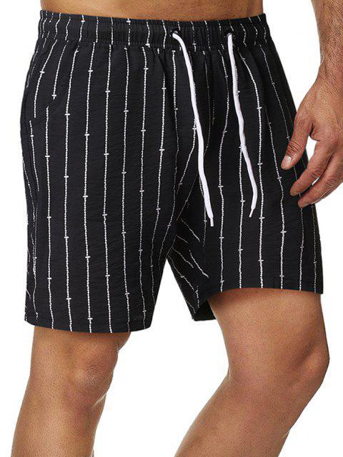 new Stripes Pattern Elastic Waist Shorts - BLACK M Mobile
