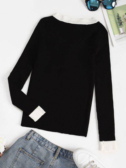 online Ribbed Button Placket Bicolor Sweater - BLACK ONE SIZE Mobile