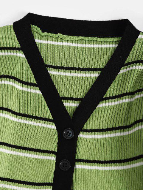 Carcela de Botão Listrado com Nervuras Camisola - Luz verde Um Tamanho Mobile
