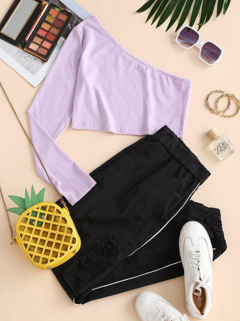outfit One Shoulder Top and Piping Windbreaker Pants Set - LIGHT PURPLE L Mobile