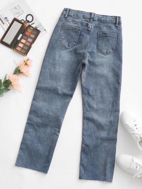 Pantalones Jeans Dobladillo Bosillo Corte Alto - Azul Profundo M Mobile