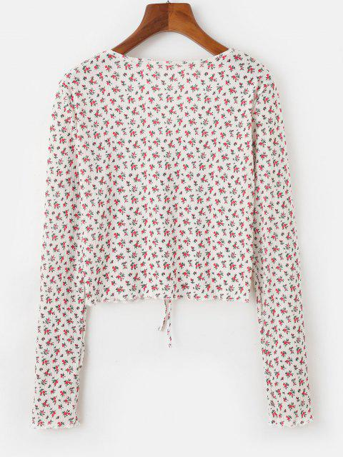 hot Ditsy Floral Print Tie Front Cardigan - RED ONE SIZE Mobile