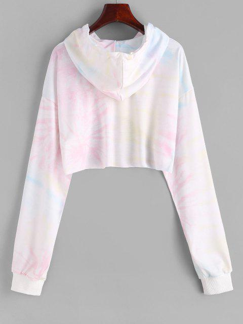 affordable High Low Tie Dye Cropped Hoodie - WARM WHITE M Mobile
