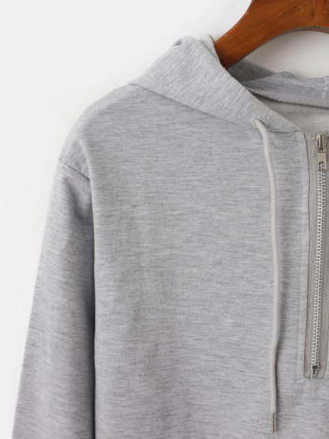 women's Drawstring Raw Hem Half Zip Hoodie - GRAY L Mobile