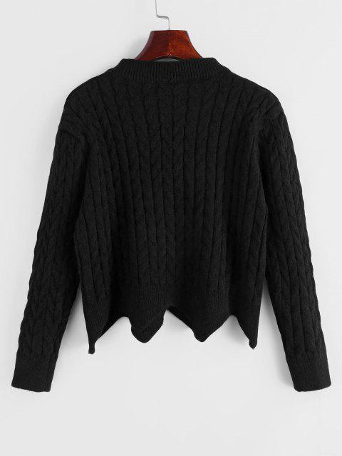 affordable Cable Knit Button Up Angled Hem Cardigan - BLACK ONE SIZE Mobile