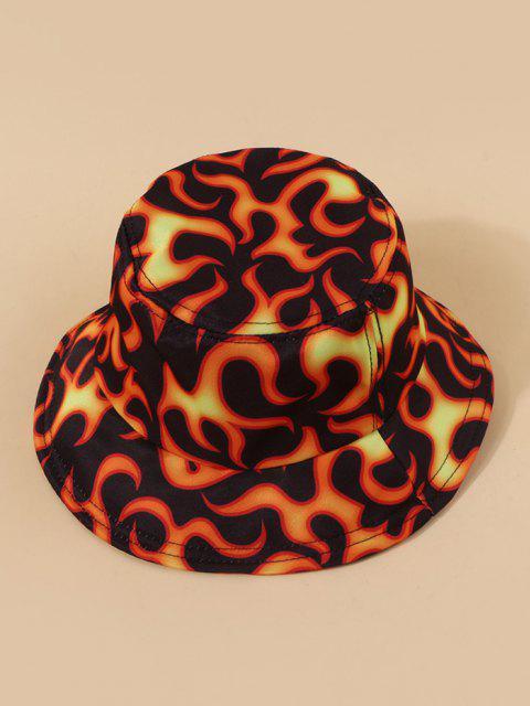 Sombrero de Cubo Casual con Estampado de Fuego - Multicolor-A  Mobile