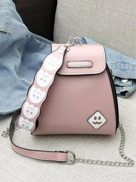Cute Ghost Pattern Leather Mini Tote Bag - وردي فاتح  Mobile