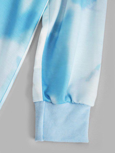 women's Tie Dye Chinoiserie Dragon Graphic Hoodie Dress - LIGHT BLUE L Mobile
