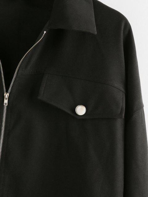 latest ZAFUL Drop Shoulder Flap Detail Zip Up Jacket - BLACK S Mobile