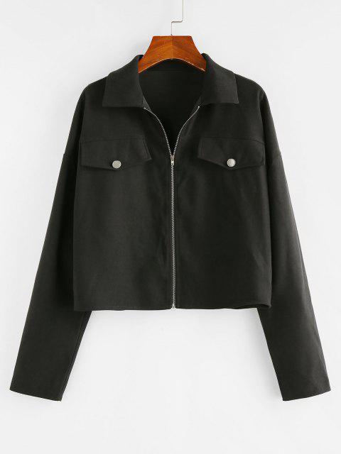 ZAFUL Drop Shoulder Flap Detail Zip Up Jacket - أسود M Mobile