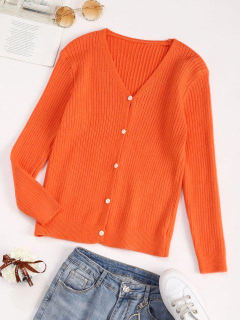 Cardigan Basic con Bottoni - Arancione Scuro Taglia unica Mobile