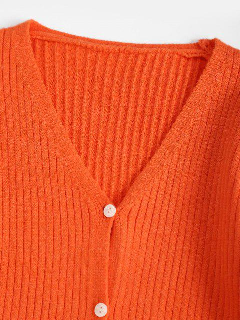 sale Basic Slouchy Button Up Cardigan - DARK ORANGE ONE SIZE Mobile