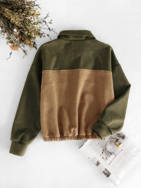 affordable Snap Button Two Tone Faux Suede Sweatshirt - DARK GOLDENROD M Mobile