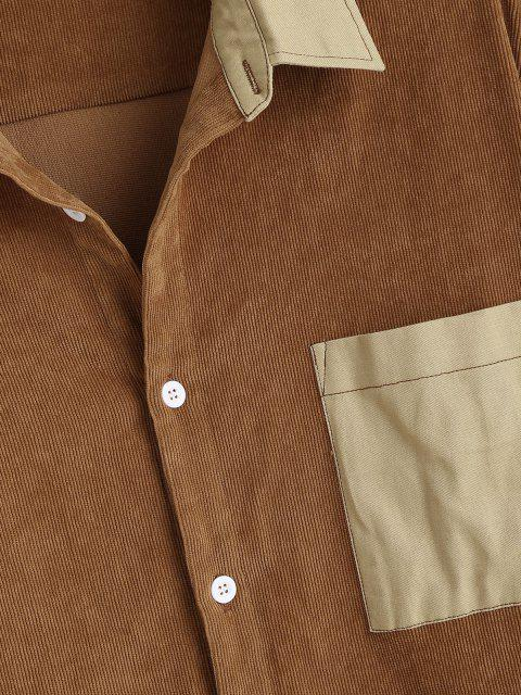 fancy Color Blocking Panel Pocket Patch Corduroy Shirt - DEEP YELLOW L Mobile