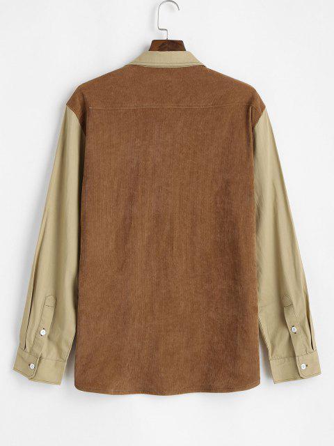 パネルポケットパッチコーデュロイシャツ配色 - ディープイエロー 3XL Mobile