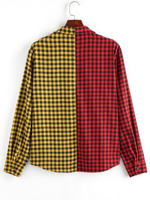 ZAFUL Two Tone Plaid Pocket Patch Shirt - متعدد 2XL Mobile