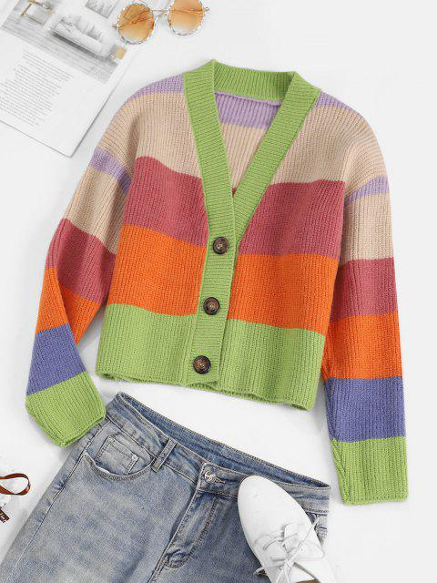 fashion Colorblock Striped Cardigan - MULTI ONE SIZE Mobile